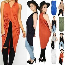 Womens Ladies Longline Drape Plunge Low V Neck Cross Fold Twisted Tee Shirt Top