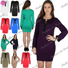 Womens Ladies Lace Up Front Eyelet Long Sleeve Short Tunic Bodycon Mini Dress