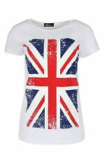Womens Ladies Uk Flag Union Jack Slim Fitted Cap Sleeve Crew Neck Tee Shirt Top