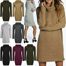 Womens Ladies Speckle Knit Cowl Neck Oversize Baggy Pullover Jumper Mini Dress