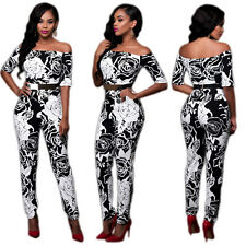 Sexy Women off Shoulder Casual Print Jumpsuits Slim Long Pants Rompers HOT