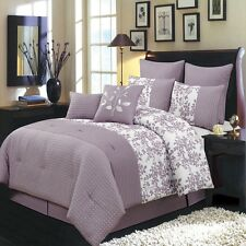 12pc Purple & White Floral Bliss Bed in a Bag Comforter Set AND Sheet Set