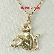TPJ Handcrafted UniqueDesign Monkey Ruby Eye 14k Solid Yellow Gold Pendant Charm