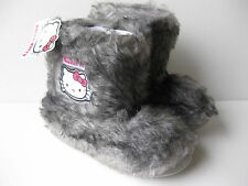 Girls HELLO KITTY Grey Furry Bootee Slippers Size 8-2