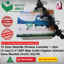 """10 Zone WaterMe WiFi Controller+Qty4 x 2-way 3/4"""" Solenoid Valve Manifold 50LPM"""