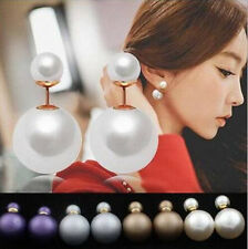 1 Pairs Design  New Earrings  Double Pearl  Ear Studs Fashion  Hot Man Made