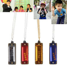 Mini 4 Hole 8 Tone Harmonica Metal Necklace Chain Toy Gift 4 Color