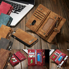 Magnetic Wallet Zipper Genuine Leather Cover Case Purse For iPhone 6 6S 7 7 Plus