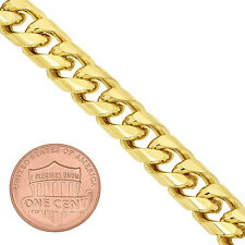 Men's 9.3mm Yellow 14K Gold-Overlay Curb Link Chain with Fold Over Clasp