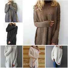 Casual Long Sleeve Knitted Turtleneck Pullover Lady Women Loose Sweater Knitwear