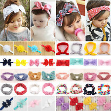 Baby Girls Kids Bunny Rabbit Bow Knot Turban Headband Hair Band Infant Headwrap