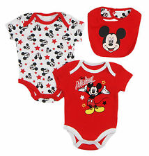 Disney Mickey Mouse Heads & Stars Newborn Infants 3 Piece  Set with  Bib