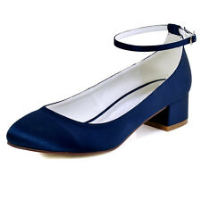 1613 Navy Blue Closed Toe Pump Chunky Heel Ankle Strap Satin Evening Party Shoes