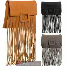 NEW LADIES WOMEN'S FAUX LEATHER FRINGE TASSEL PARTY HANDBAG CLUTCH BAG