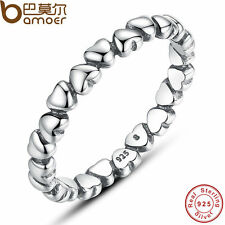 AUTHENTIC 925 SOLID STERLING SILVER LOVE HEART FINGER RING JEWELRY RINGS PA7108