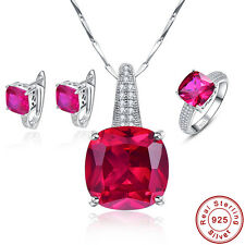 Free Box Engagement Ruby Ring+Necklace+Earrings 925 Sterling Silver Jewelry Sets