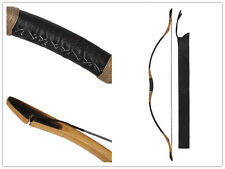 Archery Handmade Hunting Longbow Cow Leather Bow Recurve With OX Horn 20-110lb
