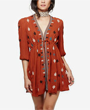 NWT Free People Star Gazer Embroidered Peasant Dress Brown Combo XS L $128