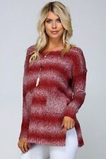 S/M M/L  Ombre Listicle Pockets Sweater Top- Burgundy Taupe Mohair Wool Blend