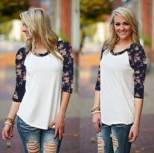 Womens T-Shirt Lace Blouse Long Sleeve Shirt Casual Loose Fashion Tops Chiffon