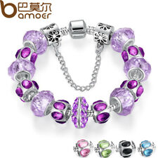 SILVER PLATED CRYSTAL BEAD CHARM BRACELET CHAIN FOR WOMEN JEWELRY FASHION PA1448