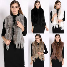 Luxury Women Vest 100% Real Raccoon Collar Knitted Rabbit Fur Waistcoat  V0001