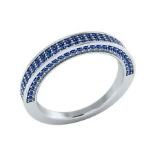 0.50 ct Natural Round Blue Sapphire Solid Gold Half Eternity Wedding Band Ring
