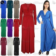 Womens Ladies Plain Wedding Bridesmaid Cocktail Front Knot Twisted Maxi Dress