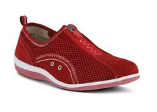 Spring Step Women's Racer Casual Suede Mesh Slip On Shoes Red