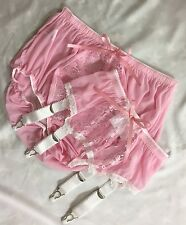 Sheer Baby Pink Lace Front Panties & Suspender/Garter Set