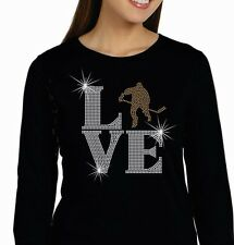 Ladies Rhinestone Tee or Hoodie Love Hockey LAT Ringspun Cotton Long Sleeve