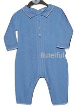 Baby Boys Blue All in One Knitted Cable Romper 0-3 3-6 6-9 Month