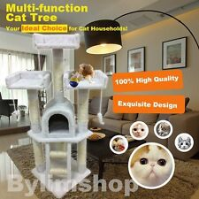 New Cat Tree Scratching Post Scratch Activity Centre Bed Toys Scratcher White
