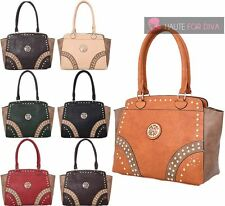 NEW FAUX LEATHER LADIES TOTE STUDS DESIGN MEDALLION DETAIL SHOPPER SHOULDER BAG