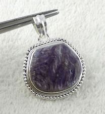 925 Sterling Silver Pendant Natural Charoite Cabochon Fancy Shape Gemstone