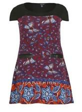 SAMYA PLUS SIZE ABSTRACT FLORAL BUTTERFLY POCKET DETAIL TUNIC DRESS BURGUNDY