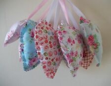 Fabric handmade hanging hearts- shabby chic floral designs- set of 2