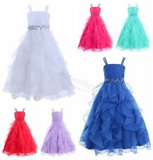 Girls Organza Flower Princess Pageant Wedding Bridesmaid Birthday Party Dress