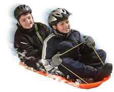 Two-Riders 48-Inch Hill Toboggan Sled Tow Rope Molded Handles Snow Winter Sport
