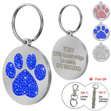 Paw Print Rhinestone Custom Dog Tags Personalized Pet Name Engraved Free Whistle
