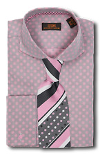 Dress Shirt Seven Land-Rounded Cutaway Collar-FrenchCuff-Gray/Pink-DA617-CH