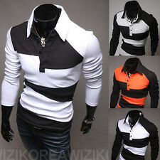 Luxury Long Sleeve Men's Button Front Slim Fit Casual Polo Shirt T-Shirt New t99