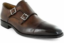 Florsheim Brown Classico Mens Leather Dress Monk-Strap Metal Buckle Trendy Shoe
