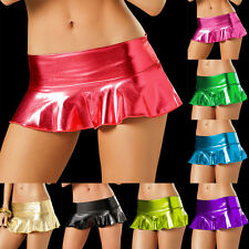 Sexy Women Lingerie Shining Metallic Bodysuit Mini Skirt Clubwear Stripper Dance