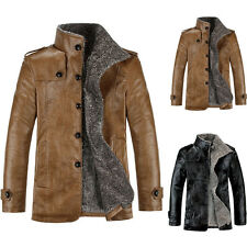 Men Fashion Buttons Warm Leather Jacket Parka Outerwear Fur Lined Winter Coat |