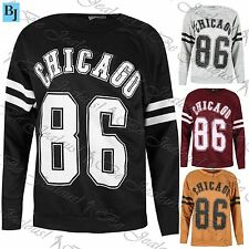 Womens Oversized Sports Stripes Chicago 86 Sweater Baggy Sweatshirt Jumper Tops