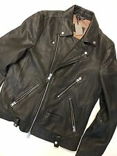 "ALL SAINTS MEN'S ANTHRACITE ""BARASSIE"" LEATHER BIKER JACKET COAT - XL - NEW TAGS"
