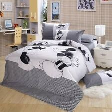 Mickey Mouse White/Black Quilt/Doona Cover Set Queen/King Bed Linen Duvet Covers