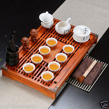 Chinese porcelain tea set on sales solid wood tea tray ceramic gaiwan tea cups