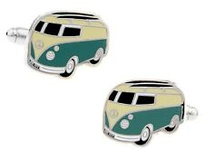 Pair of novelty VW Camper Van Cufflinks Campervan in velvet gift bag UK Seller